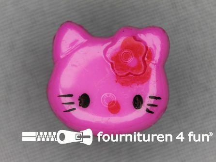Kinder knoop 18mm hello kitty fuchsia roze