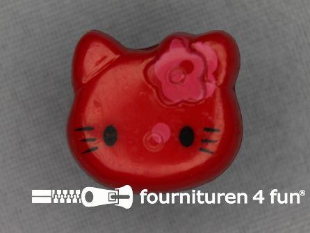 Kinder knoop 18mm hello kitty rood