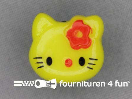 Kinder knoop 18mm hello kitty fel geel