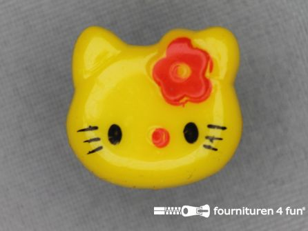 Kinder knoop 18mm hello kitty mais geel