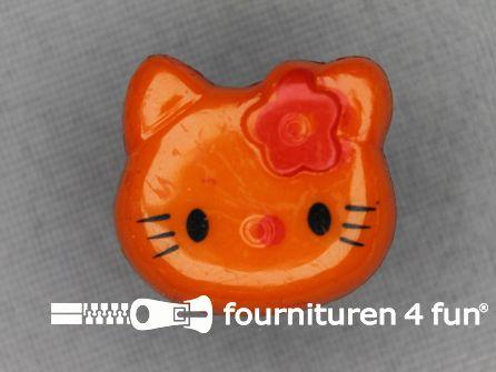 Kinder knoop 18mm hello kitty oranje