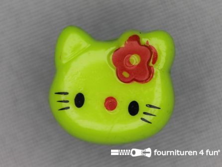 Kinder knoop 18mm hello kitty lime groen