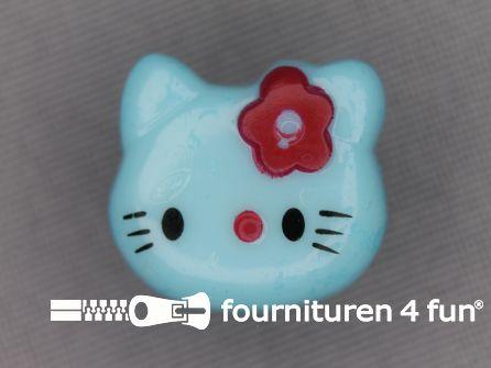 Kinder knoop 18mm hello kitty licht blauw