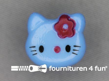 Kinder knoop 18mm hello kitty aqua blauw
