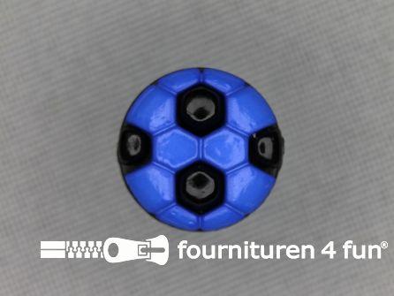 Kinder knoop 13mm voetbal kobalt blauw