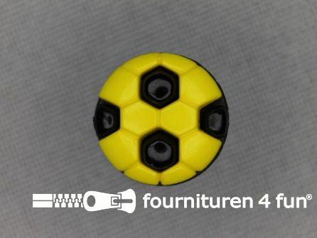 Kinder knoop 13mm voetbal geel