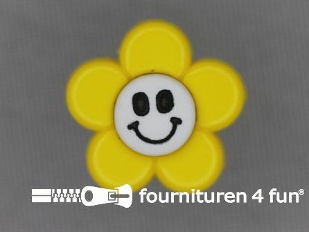 Kinder knoop 18mm bloem geel