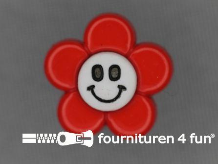 Kinder knoop 18mm bloem rood