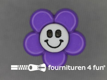 Kinder knoop 18mm bloem paars