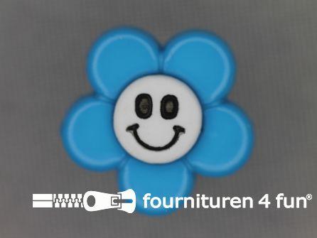 Kinder knoop 18mm bloem blauw