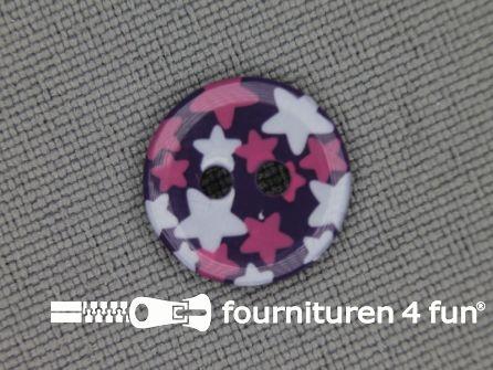 Kinder knoop 12mm ster paars - wit - roze
