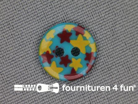 Kinder knoop 12mm ster blauw - geel - rood