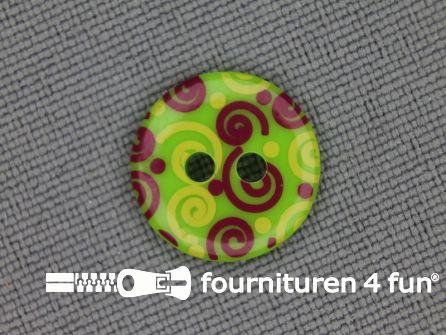 Kinder knoop 12mm krul groen - rood - geel