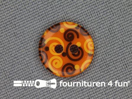 Kinder knoop 12mm krul oranje - geel - bruin