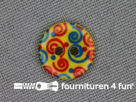 Kinder knoop 12mm krul geel - blauw - rood