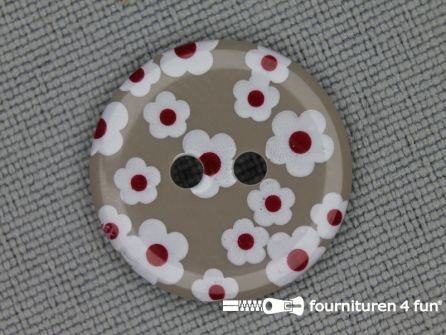 Kinder knoop 18mm bloem zand - wit