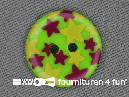 Kinder knoop 18mm ster groen - rood - geel