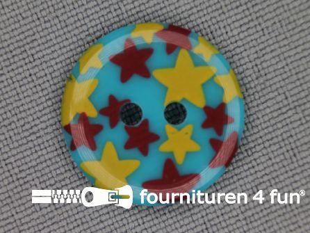 Kinder knoop 18mm ster blauw - geel - rood