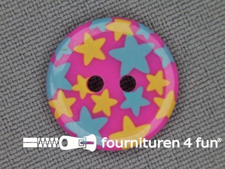 Kinder knoop 18mm ster roze - blauw - geel