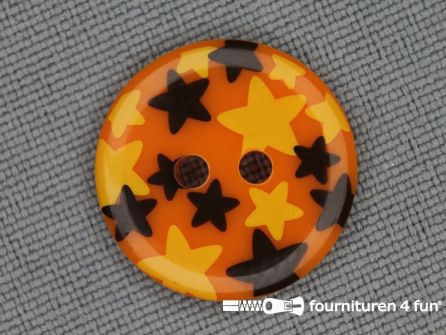 Kinder knoop 18mm ster oranje - geel - bruin
