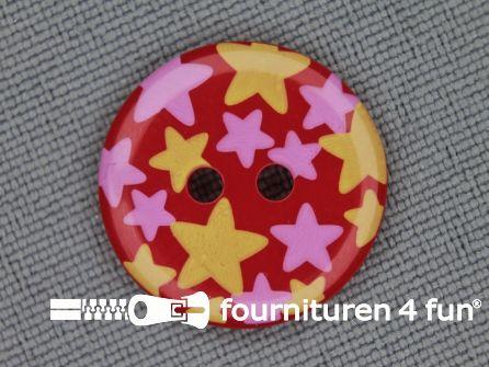 Kinder knoop 18mm ster rood - geel - roze