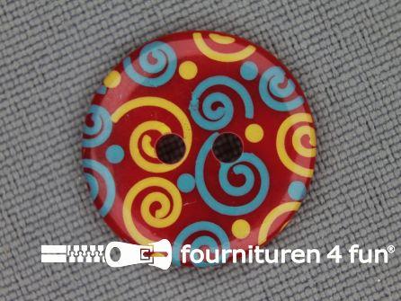 Kinder knoop 18mm krul rood - geel - blauw