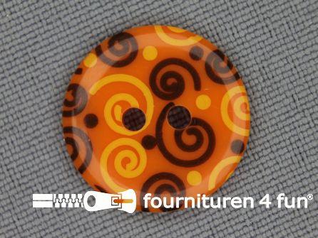 Kinder knoop 18mm krul oranje - geel - bruin