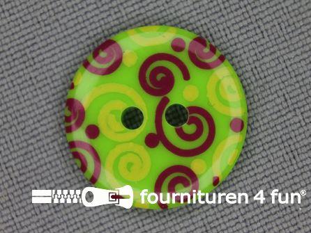Kinder knoop 18mm krul groen - rood - geel