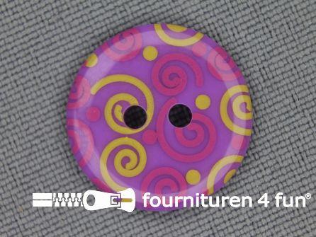 Kinder knoop 18mm krul lila - roze - geel