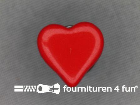 Kinder knoop 15mm hartje rood