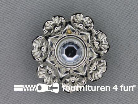 Strass stenen knoop 28mm zilver
