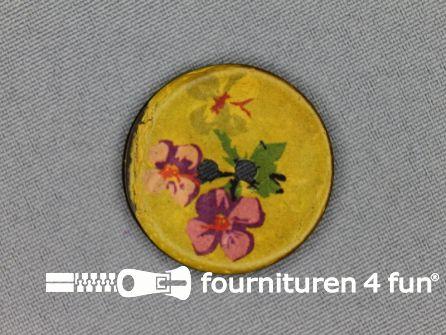 Kokos knoop 30mm floral geel