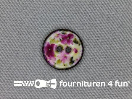 Kokos knoop 20mm bloemen roze - groen
