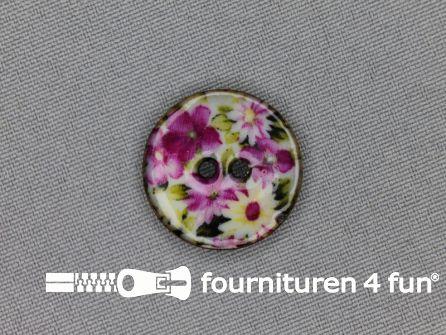Kokos knoop 23mm bloemen roze - groen