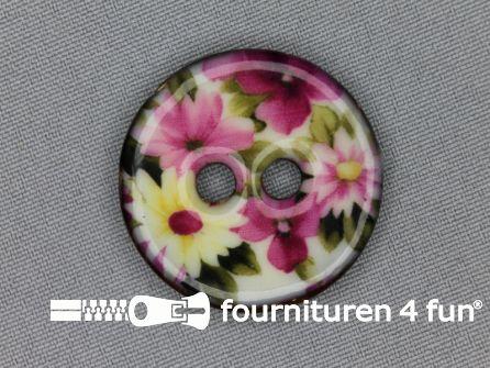 Kokos knoop 34mm bloemen roze - groen