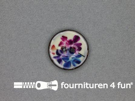 Kokos knoop 23mm bloemen blauw - roze