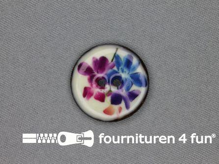 Kokos knoop 28mm bloemen blauw - roze