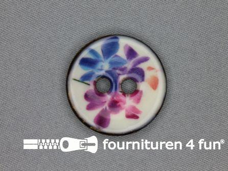 Kokos knoop 34mm bloemen blauw - roze