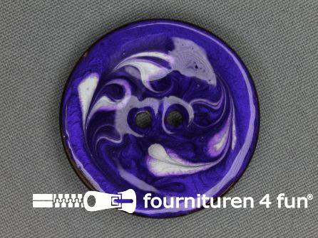 Kokos knoop 40mm wave blauw paars