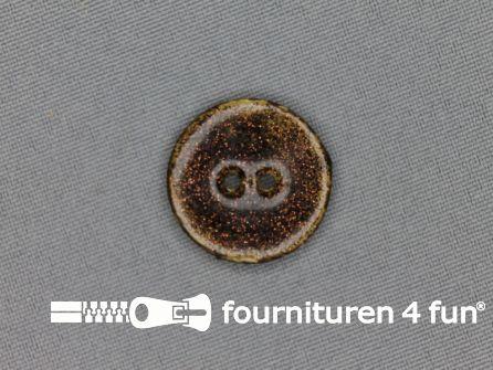 Kokos knoop 23mm glitter bruin