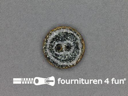 Kokos knoop 23mm glitter grijs