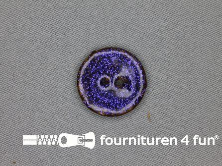 Kokos knoop 23mm glitter blauw paars