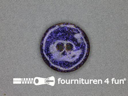 Kokos knoop 28mm glitter blauw paars