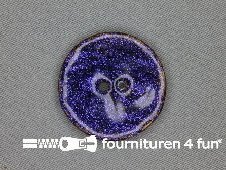 Kokos knoop 35mm glitter blauw paars