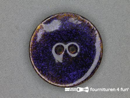 Kokos knoop 40mm glitter donker paars