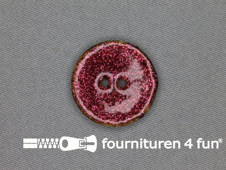 Kokos knoop 28mm glitter fel roze