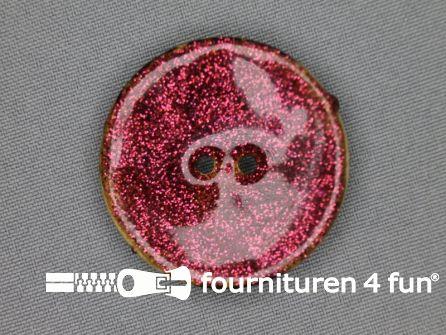 Kokos knoop 40mm glitter fel roze