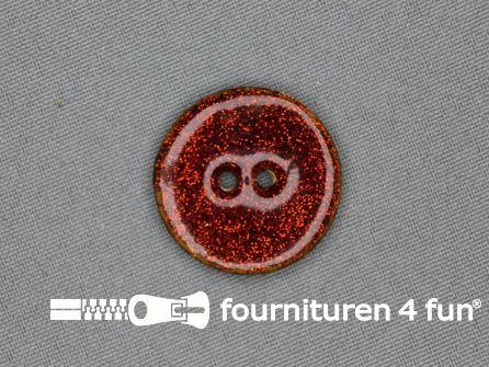 Kokos knoop 28mm glitter rood