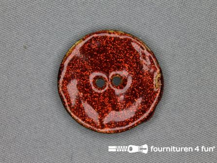 Kokos knoop 35mm glitter rood