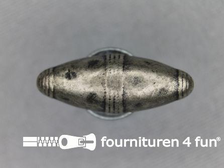 Houtje touwtje knoop 25mm zwart zilver